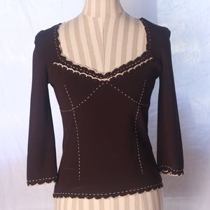 VT Chocolate Brown Bustier Stitched Ribbed Top